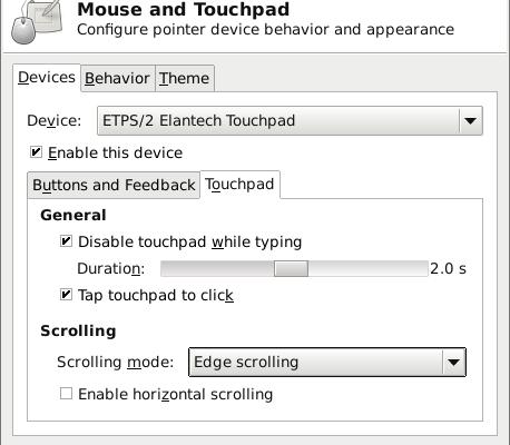 xfce touchpad